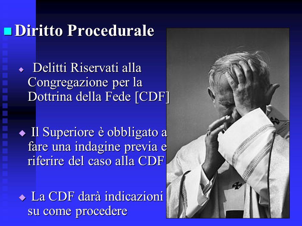 Diritto Procedurale Delitti Riservati alla Congregazione per la Dottrina della Fede [CDF]